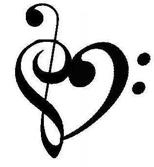g clef heart tattoo  bass clef treble clef