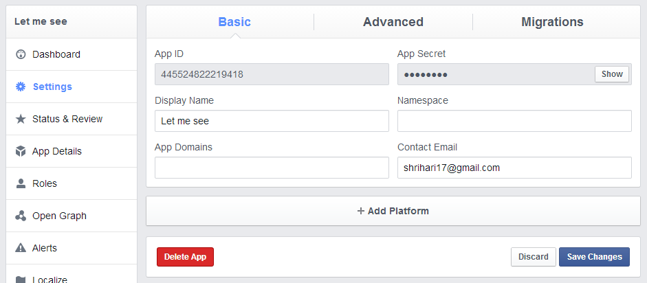 Step 3 : Basic Setting For Facebook App