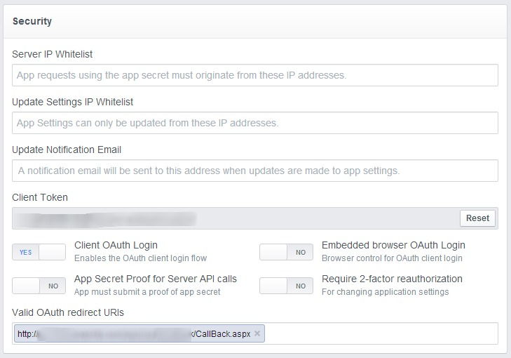 Step 4 : Advance Setting | Setting Callback URL for OAuth Redirection URL