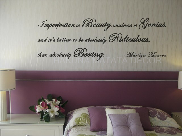 imperfection is beauty marilyn monroe quote decal wall